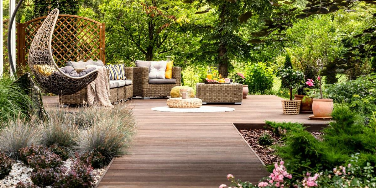 landelijk terras hardhout